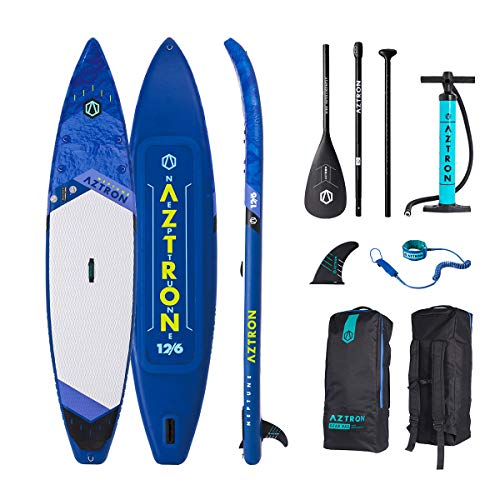 "Aztron Neptune Inflatable Stand up Paddle Board Touring 12'6"" Double Chamber & Layer with Adjustable Aluminum Paddle and"