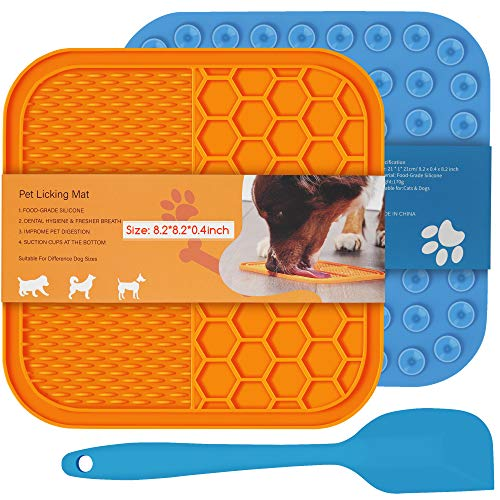 ALLWIN Dog Lick Mat - Large Size Lick Mat for Dogs 2 Packs with Strong Suction Cups Holds on Wall and Floor, Dog Slow Feeder Treat Dispensing Pad Perfect for Food, Peanut Butter, Cheese (Yellow Blue)