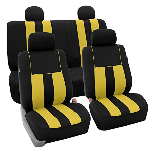 FH Group FB036114 Striking Striped Seat Covers (Yellow) Full Set – Universal Fit for Cars Trucks & SUVs