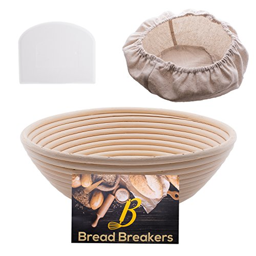 Bread Breakers Premium 10' Round Banneton Proofing Basket Set - French Style Artisan Bread Bakery Basket - 4' Depth - Cloth Liner & Dough Scraper/Cutter Included - For Professional & Home Bakers