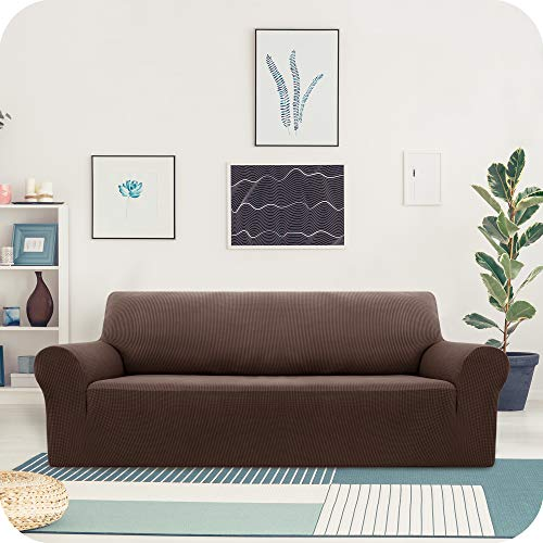 UMI Amazon Brand Funda Sofa Suave Elastica de Color Liso 3 Plazas Chocolate