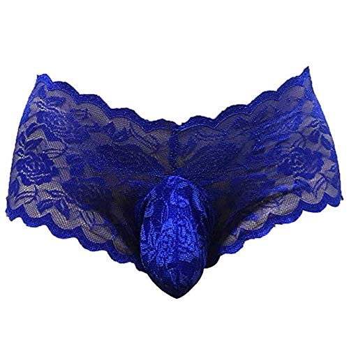 Sissy Pouch Panties Men's Silky Lace Bikini Briefs G-String Underwear Sexy for Men Blue
