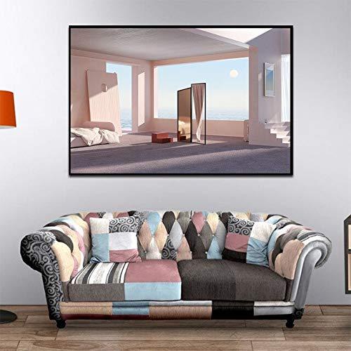 N / A Abstraktes Stillleben Rosa architektonische Leinwand Malerei Poster und Wandkunst Bild Ausdehnung für Wohnzimmer Dekoration Rahmenlos 50x75cm