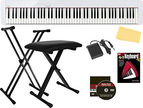 Casio Privia PX-S1000 88-Key Digital Piano - White Bundle with Adjustable Stand, Bench, Sustain Pedal, Instructional Book, Online Lessons, Austin Bazaar Instructional DVD, and Polishing Cloth