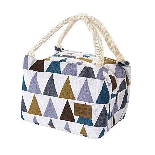 Insulated Lunch Bag For Women - Cute Canvas Lunch Box Tote Bag Durable Reusable Organizer (A-Multicolor lunch bag)