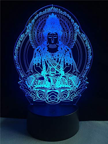 Wfmhra Creative 3D Lamp Religion Buddha Statue Lighting Friend Gifts LED USB Mood Night Light Multicolor Home Decorative Table Lamp