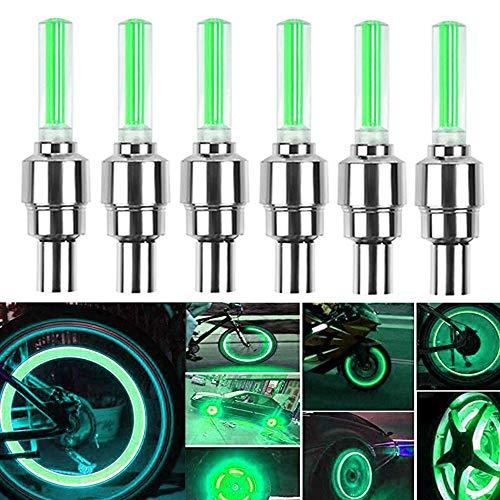 HSIQIAN LED Impermeable Flash Rueda Luz Llanta Rueda Válvula Tapa Luz Luz de Seguridad para Coche, Bicicleta, Bicicleta, Motocicleta 8 Piezas (Verde)