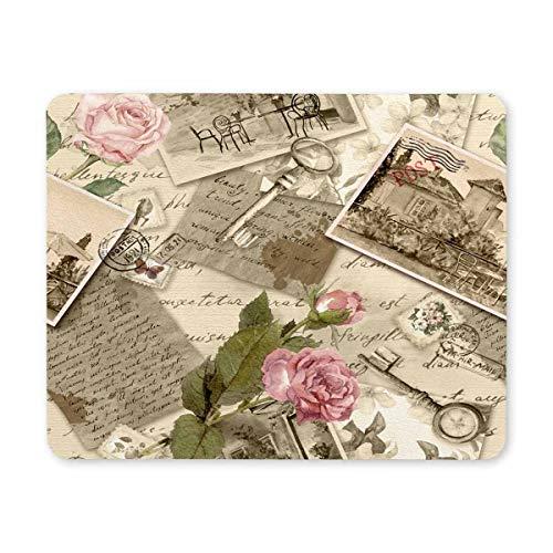 Tappetino per Tappetino per rettangoli di francobolli di Lettere di Carta d'Epoca Vintage Personalizzati, Tappetino per Mouse Mouse da Gioco Carino