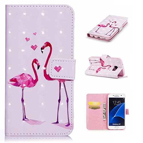 Kompatibel mit Galaxy S7 Hülle,Handyhülle PU Leder Flip Case Cover Schutz Kunstleder Tasche Etui Lederhülle Schutzhülle im Bookstyle Klapphülle Wallet Case Für Galaxy S7,Rosa Flamingo