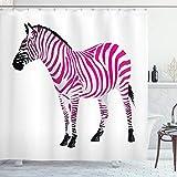 ABAKUHAUS Rosa Zebra Duschvorhang, Savannah Tierkunst, Moderner Digitaldruck mit 12 Haken auf Stoff Wasser & Bakterie Resistent, 175 x 180 cm, Staub Schwarz