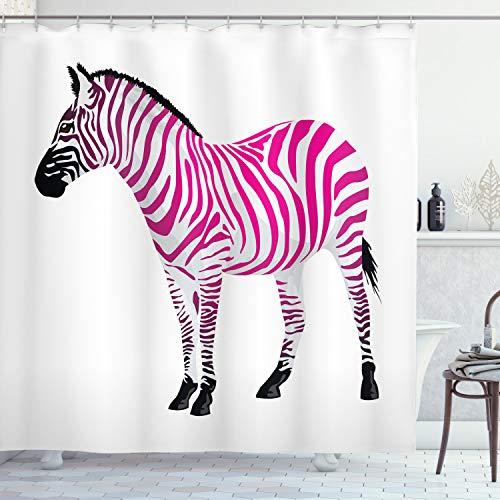 ABAKUHAUS Rosa Zebra Duschvorhang, Savannah Tierkunst, Moderner Digitaldruck mit 12 Haken auf Stoff Wasser und Bakterie Resistent, 175 x 180 cm, Staub Schwarz