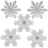 BANBERRY DESIGNS Large Snowflakes - Set of 5 Silver Glittered Snowflakes - Christmas Snowflake Ornaments Approximately 12' D