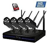 Kit Cámaras de Vigilancia NVR Exterior / Interior 10800P, 1TB HDD, Visión Nocturna, Detector de Movimiento, IP66 Impermeable, Sistema Seguridad Inalámbrica de WIFI (Negro) - Topgio