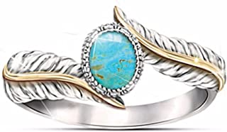 Inset Turquoise Feather Ring Party Engagement Ring for Women Girls