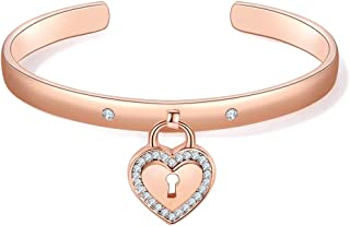 Heart Bangle Bracelet for Women 3A Cubic Zirconia Rose Gold Plated Cuff Bracelet Jewelry Girls Birthday Gifts