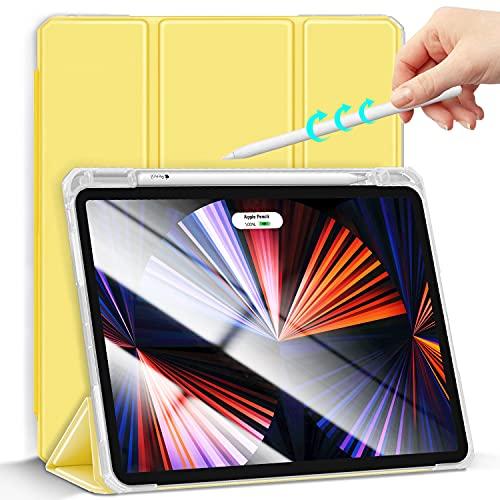 Gahwa Funda para iPad Air 4.ªGeneración 10,9 Pulgadas 2020, Ultra Delgada Smart Cover Case Compatible Carga Inalámbrica Pencil 2, Carcasa con Auto-Reposo/Activación y Tríptica Soporte - Amarillo