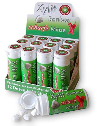 Xylit Birkenzucker Bonbon Scharfe Minze, 12 Röhrchen zu je 45 Bonbons (12 x 31,5g) Großpackung