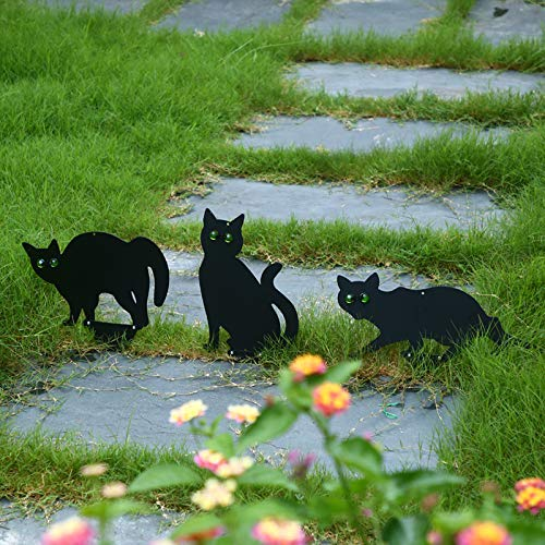 Pack of 3 Cat Silhouette for Garden Decoration, Scare/Scary Cats with Reflective Eyes, Garden Cat Deterrent Cat Scarer Repells Birds Away