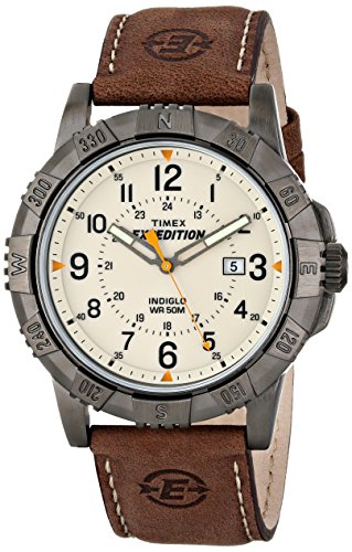 Timex Men's T49990 Expedition Rugged Metal Brown/Natural Leather Strap Watch