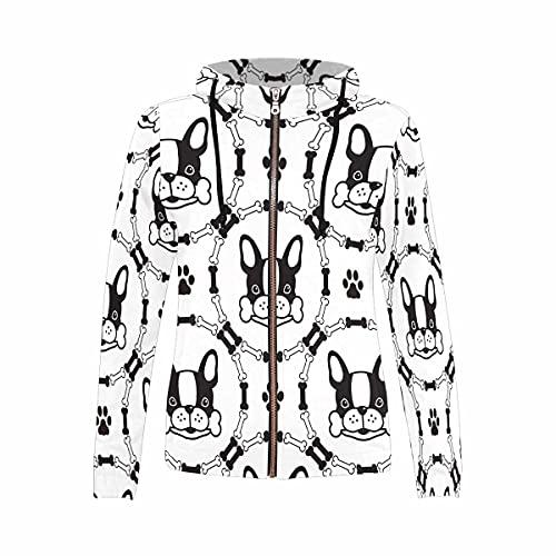 InterestPrint Women's Zipper Casual Long Sleeve Hoodies for Yoga Gym French Bulldog Pattern Dog Bone XS