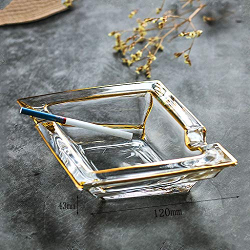 ZXW Cendrier- Personnalité créative cendrier en verre cristal bordé d'or (Couleur : Clair-12x4.3cm)