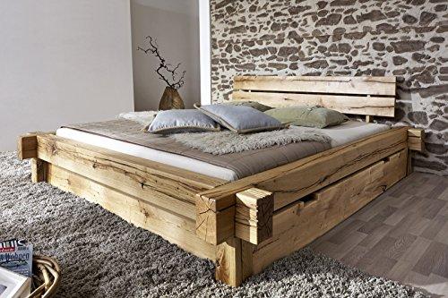 SAM Massiv-Holzbett 200x200 cm Johann mit Schubkästen, Bett aus geölter Wildeiche