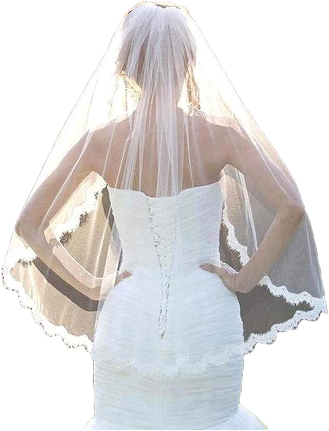 Jin'sshop 2018 New Short Wedding Veil For Bride One Tier ivory Simple Appliques Bridal Veils With Comb