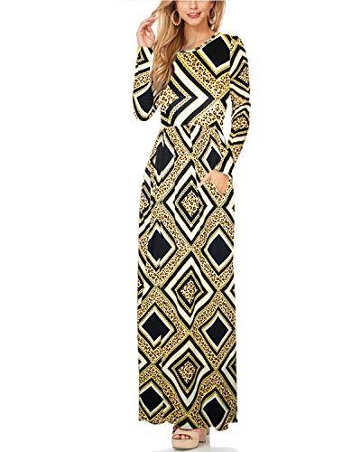 Hybrid & Company Women Long Sleeve Loose Plain Maternity Casual Long Maxi Dresses KDR47788 11071 BKIVMU S