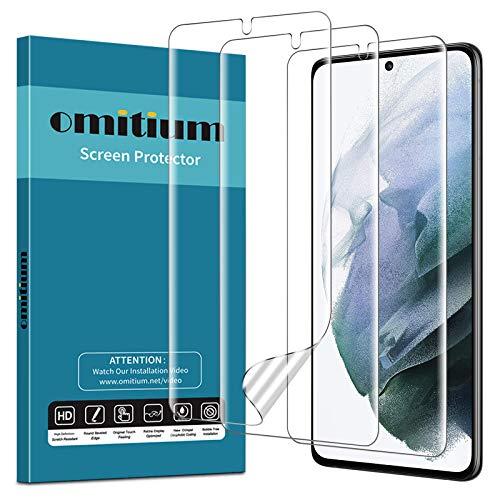 omitium Protector de Pantalla Samsung Galaxy S21, [3 Packs] Protector de Película Samsung Galaxy S21 [Cobertura Completa] Sin Burbujas Alta Definición Película Protectora de TPU Samsung Galaxy S21