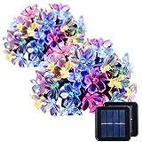 7m 50 led桜ライトストリング、ソーラーフラワーストリング、アウトドア、ガーデン、テラス防水ソーラーフェアリーライト(カラー)