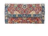 Cartera Billetera Étnica con Monedero Largo Diseño de Alfombras para Mujer Bolso Largo de Mano de Gran Capacidad Portamonedas de Embrague Cartera de Tela (Roja - Azul)