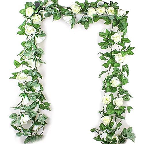 WANGJBH Trockenblumen 2,5 M Simulation Rose Blume Rattan Künstliche Blume Reben Seide Glyzinien Girlande Hängenden Rattan Für Hochzeit Arch Garten Wand Deco Künstliche Blume