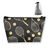 Funny Colourful Tennis Racquets And Tennis Balls Storage Bag Pouch Portable Gift for Girls Women Large Capacity Cosmetic Train Case for Makeup Brushes Jewelry Casual Travel Bag