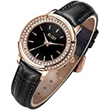 BLCOT Women's Watches with Rose Gold Black/Black Rotating Dial, Strap in Genuine Leather Wrist Watch