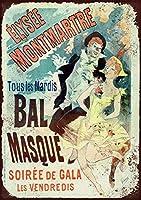 French Masked Ball メタルポスター壁画ショップ看板ショップ看板表示板金属板ブリキ看板情報防水装飾レストラン日本食料品店カフェ旅行用品誕生日新年クリスマスパーティーギフト