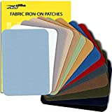 ZEFFFKA Premium Quality Fabric Iron-on Patches Inside & Outside Strongest Glue 100% Cotton Blue Gray Beige Brown Yellow Red Green Repair Decorating Kit 14 Pieces Size 3' by 4-1/4' (7.5 cm x 10.5 cm)