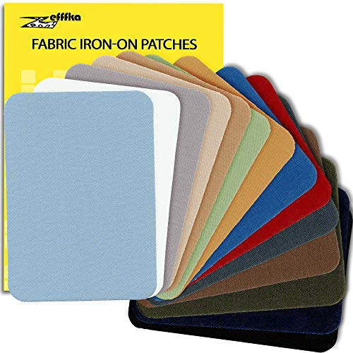 """ZEFFFKA Premium Quality Fabric Iron-on Patches Inside & Outside Strongest Glue 100% Cotton Blue Gray Beige Brown Yellow Red Green Repair Decorating Kit 14 Pieces Size 3"""" by 4-1/4"""" (7.5 cm x 10.5 cm)"""