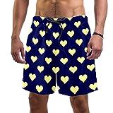 Vockgeng Shorts de Playa para Hombre Corazón Amarillo Azul Bañador De Natación para Hombre Pantalones Cortos Baño...
