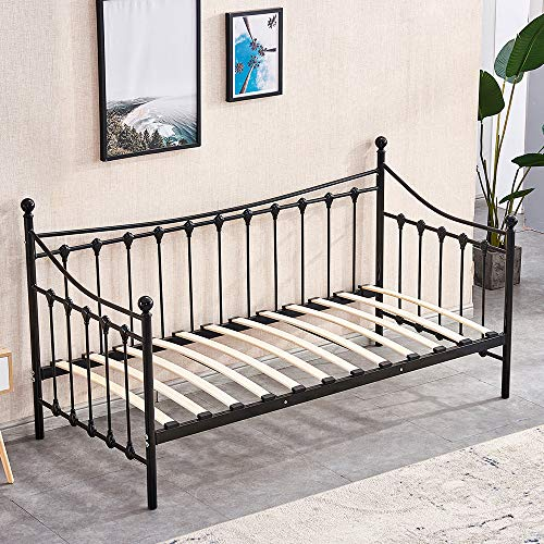 BonChoice 3FT Metal Single Daybed with Headboard Trundle Optional Twin Size Sofabed Metale Bed Frames Bedsted for Bedroom Guest Room Furniture (Black, Day Bed Only)
