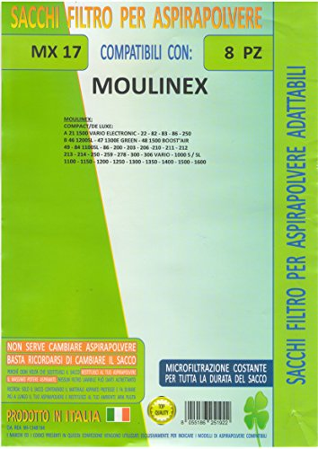 MFMX17 - Juego de 8 bolsas de repuesto Moulinex compatibles con todos los modelos indicados en la foto.
