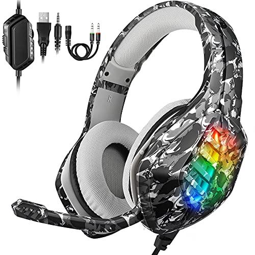 Casco Gaming PS4 REDSTORM, Auricular de Juegos, Micrófono Ajustable de Reducción de Ruido, Luz LED, Sonido envolvente estéreo 7.1, Control de Volumen, PS5/Switch/Xbox One/PS4/PC/Teléfono Inteligente