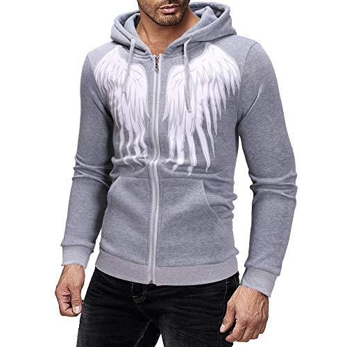 Kaiki Casual Strickjacke mit Reißverschluss Herren Hoodie Sweatshirt mit Engelsflügel Drucken (Large,Gray)