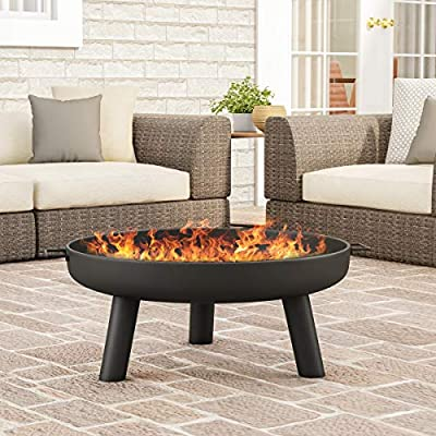"""Pure Garden 50-LG1200 Raised Steel Bowl for Above Ground Wood Burning 27.5"""" Outdoor Fire Pit, Black by Trademark Global"""
