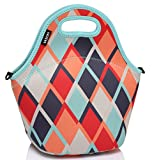 Neoprene Lunch Tote Bag Designed by Artist 12.9x13.4x6.3 in with Detachable Adjustable Shoulder Strap for Women and Kids by Vaschy in Retro Rhombus