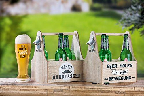 Gilde 6er Flaschenträger 'Bier Holen ist Auch Bewegung' mit Öffner
