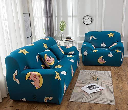 Funda de sofá de 4 Plazas Funda Elástica para Sofá Poliéster Suave Sofá Funda sofá Antideslizante Protector Cubierta de Muebles Elástica Cerdito Luna Azul Funda de sofá