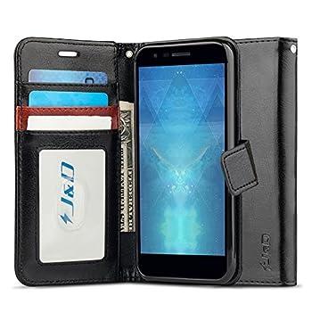 J&D Case Compatible for LG Phoenix Plus/LG K30 / LG K10 2018 Case Wallet Stand Slim Fit Heavy Duty Protective Shock Resistant Flip Cover Wallet Case for LG Phoenix Plus Wallet Black