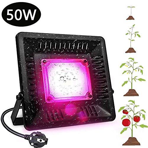 Led-plantenlamp, 50 W, volledig spectrum plantenlicht, COB IP67, waterdicht, wandhouder voor kamerplanten, groenten en bloemen