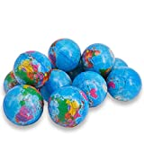 Wang-Data 24 Pack Squeezable World Stress Balls for Kids Mini World Globe Earth Ball - Pressure Relieving Health Balls Globe Pattern Balls for Kids, School, Classroom, Party Favors (2.5' Inches)
