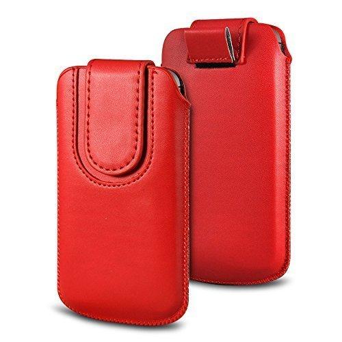N4U Online Various Farbig Magnetisch PU Leder Zug Kippen Tab Schutzhüllen Tasche für Doogee F3 Pro - Rot